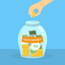 投金币到玻璃存钱罐背景