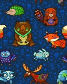 卡通可爱动物背景