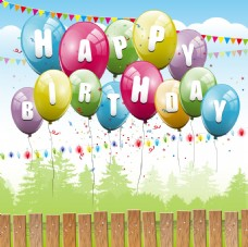 生日气球围栏背景