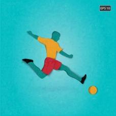足球运动员踢足球蓝色背景