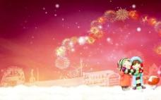 炫彩烟花新年背景