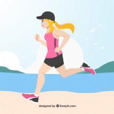 女子跑放到海滩背景