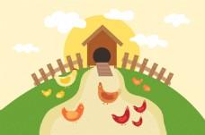 公鸡母鸡小鸡绿色农场背景