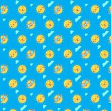 太阳表情图标云彩装饰图案蓝色背景