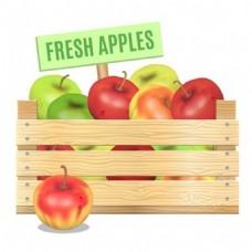 苹果木板背景素材