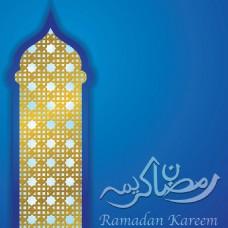金色清真寺插图斋月蓝色背景
