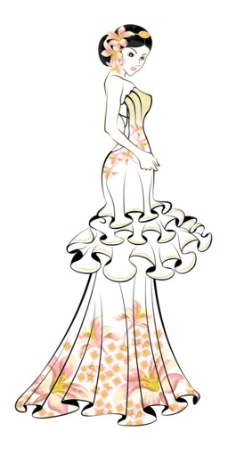 花边抹胸婚纱设计图