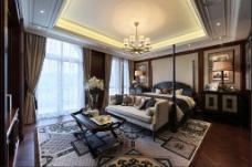 豪华卧室大床落地窗设计图