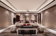 新中式别墅客厅装修效果图