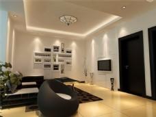 现代客厅模型效果图1