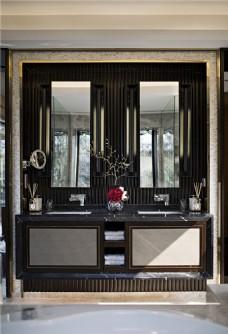 时尚室内洗手台背景墙设计图