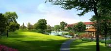 小区绿化,大草地 水景 树木