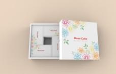 简约彩色花朵月饼盒