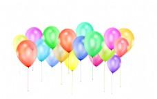多个彩色漂浮气球
