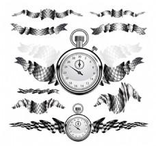 时钟格子旗图片