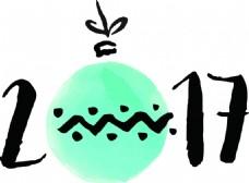 蓝色水彩风格新年快乐矢量素材文件