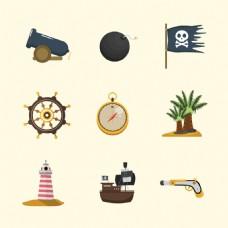 手绘风格海盗物品元素矢量素材
