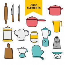手绘线描风格各种厨师厨房用具矢量素材