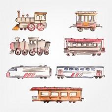 手绘水彩风格火车插图