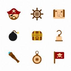 手绘各种海盗物品元素图标