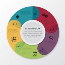 扁平风格圆形分项信息图设计素材