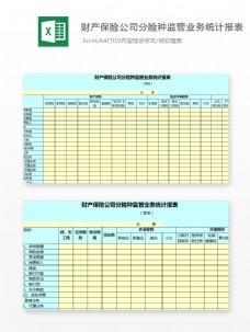 财产保险公司分险种监管业务统计报表excel模板