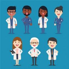 卡通可爱医院医生人物表情宣传矢量素材图片