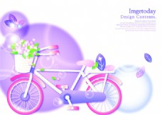 矢量彩色自行车元素背景设计