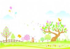 矢量树木野外花卉背景