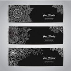 黑色装饰花纹横幅模板集合