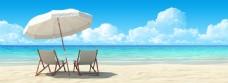 蓝天白云沙滩背景