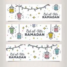 手绘风格开斋节伊斯兰元素背景