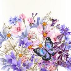 花与蝴蝶背景素材