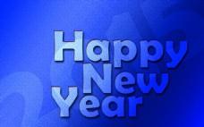 新年快乐蓝色壁纸图片