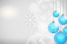 蓝色圆球梦幻雪花背景