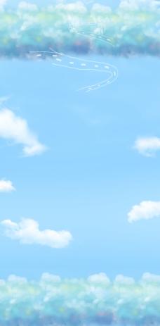 蓝天白云广告背景图片