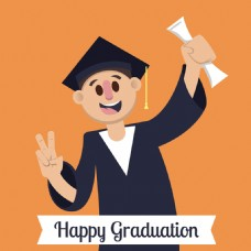 微笑的毕业学生的橙色背景