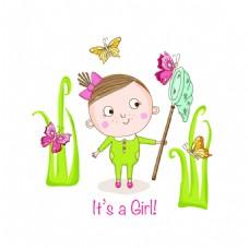 开心的可爱小女孩卡通矢量素材