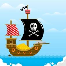 扁平风格海盗船装金币大海背景