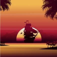 帆船剪影日落晚霞红色背景