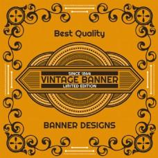 复古风格装饰花纹边框黄色背景设计