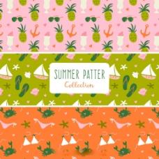 手绘夏天元素装饰图案背景