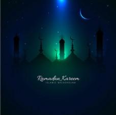 伊斯兰建筑剪影蓝色光效背景