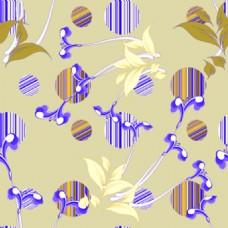 蓝色卡通水墨矢量花朵纹理背景素材