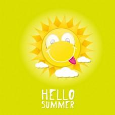 可爱笑脸太阳背景图