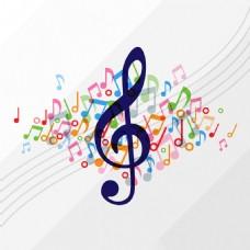 彩色音乐符号五线谱插图背景