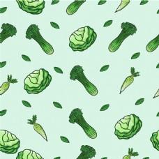 手绘各种绿色蔬菜装饰图案背景