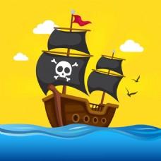 手绘海盗船黄色背景