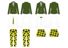 秋冬服装设计西装格子衬衫校服礼服款式效果