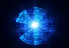 蓝色圆形光效科技背景矢量
